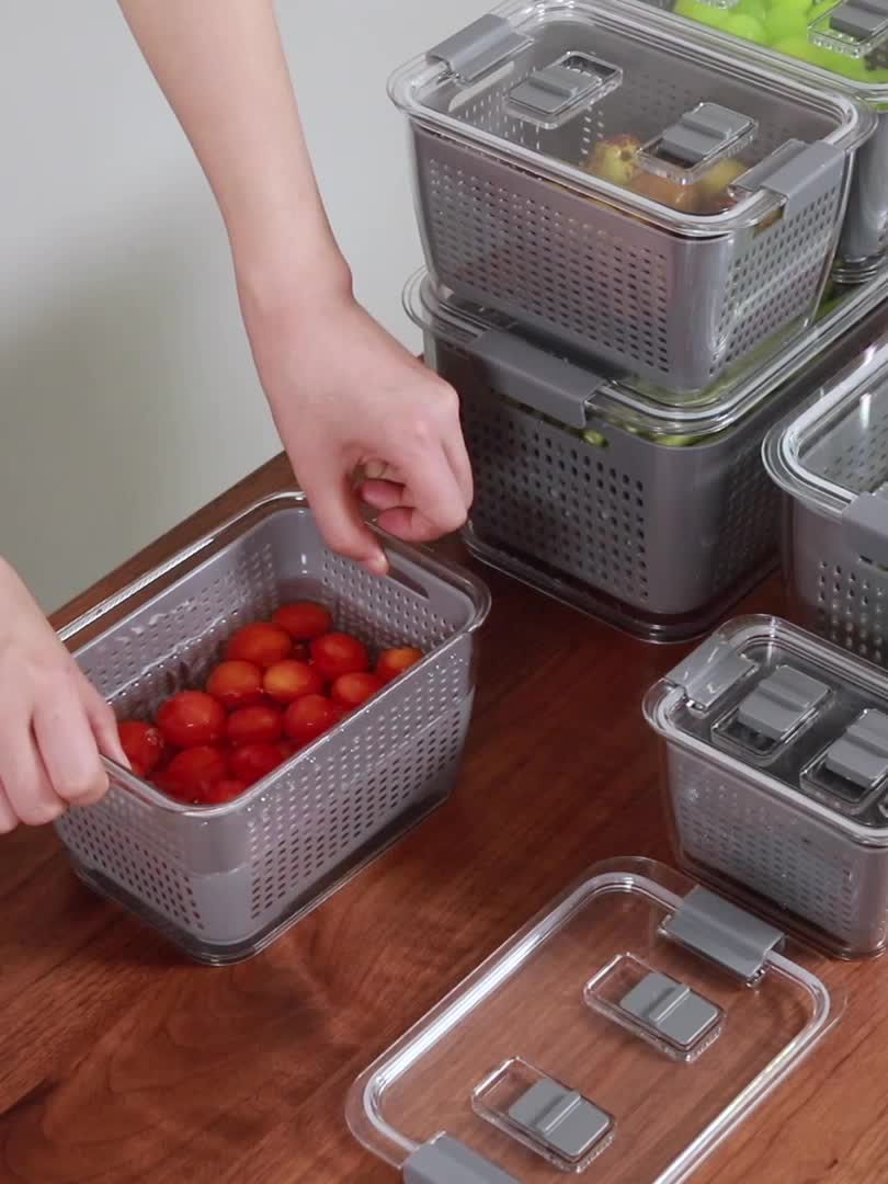 SHIMOYAMA Middle Size Plastic Drain Basket with cover Double Layer Storage Basket for fruit and vegetable