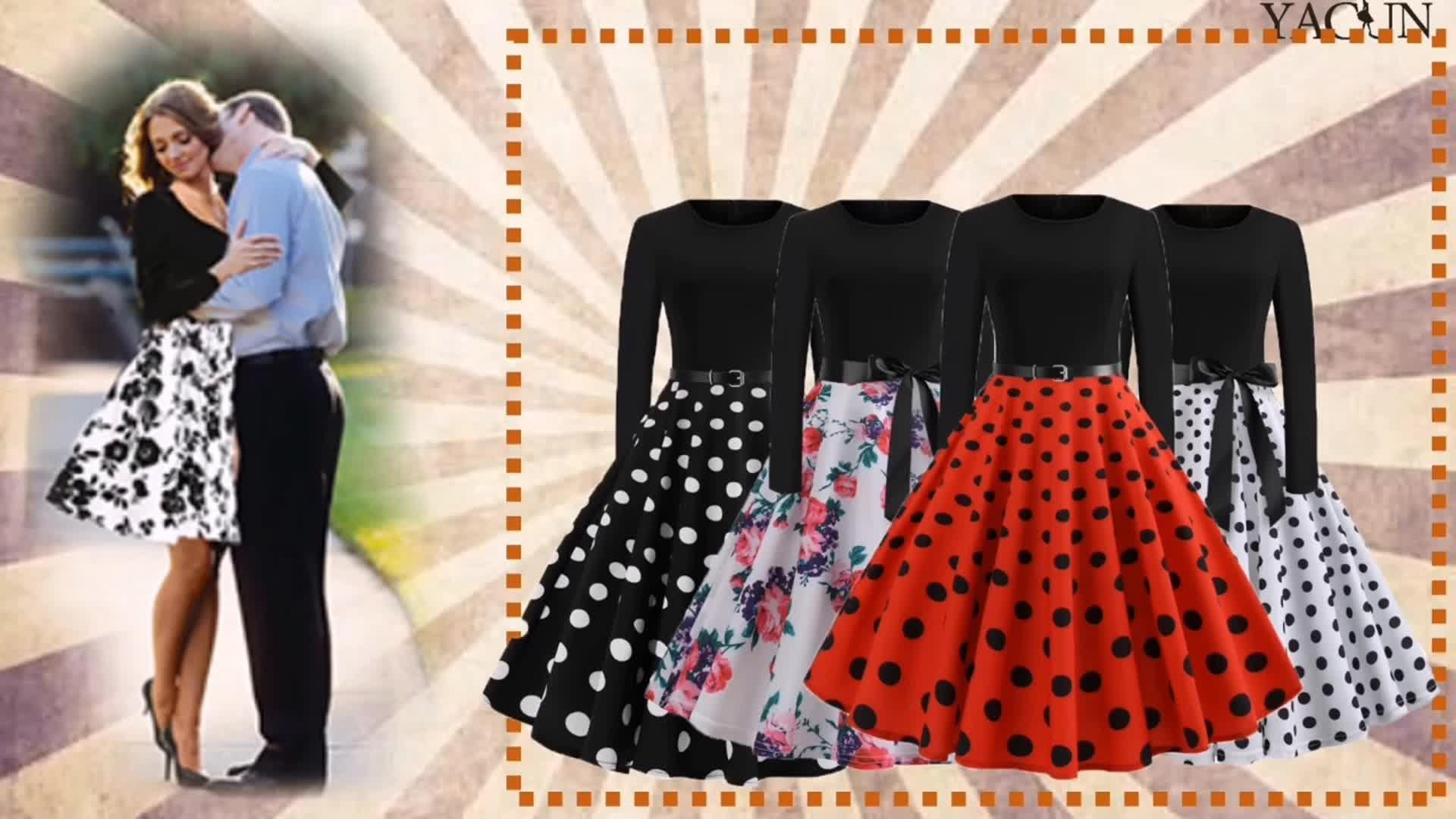 2020 Musim Panas Kerah Bulat Floral Cetak Long Sleeve 50 S Wanita Vintage Gaun