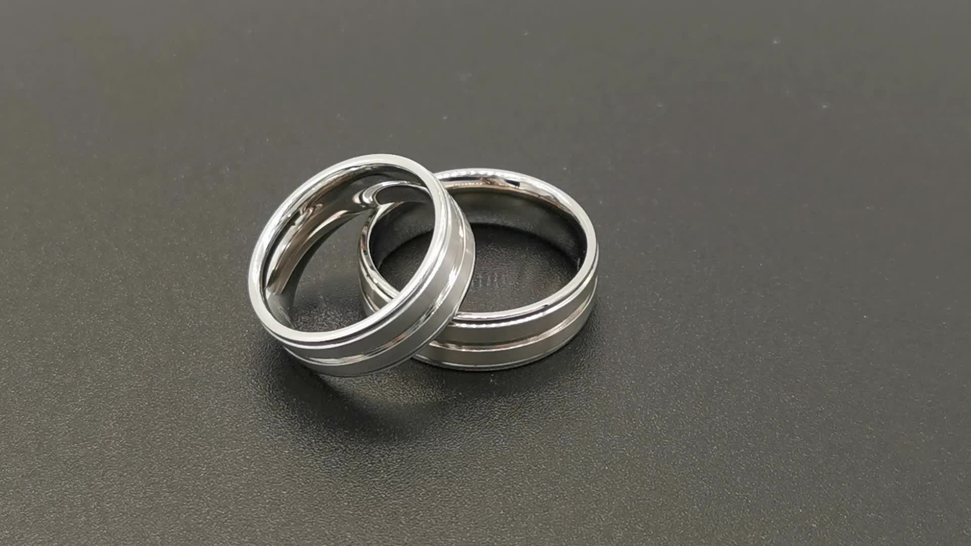 Wholesale couple jewelry diamond wedding rings 925 Sterling silver ring with gold plated groove
