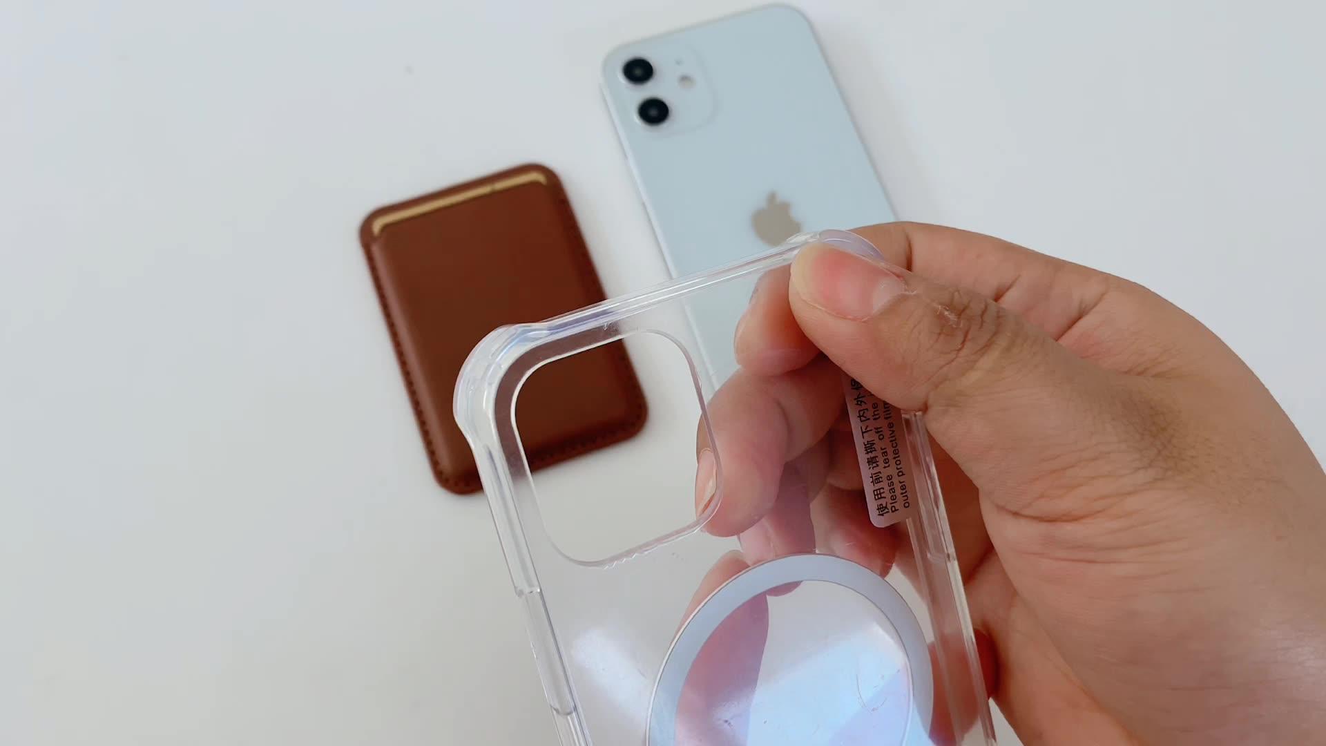 Magnetische Abnehmbare Brieftasche Telefon Fall Transparent Für iPhone 12 Pro Fall