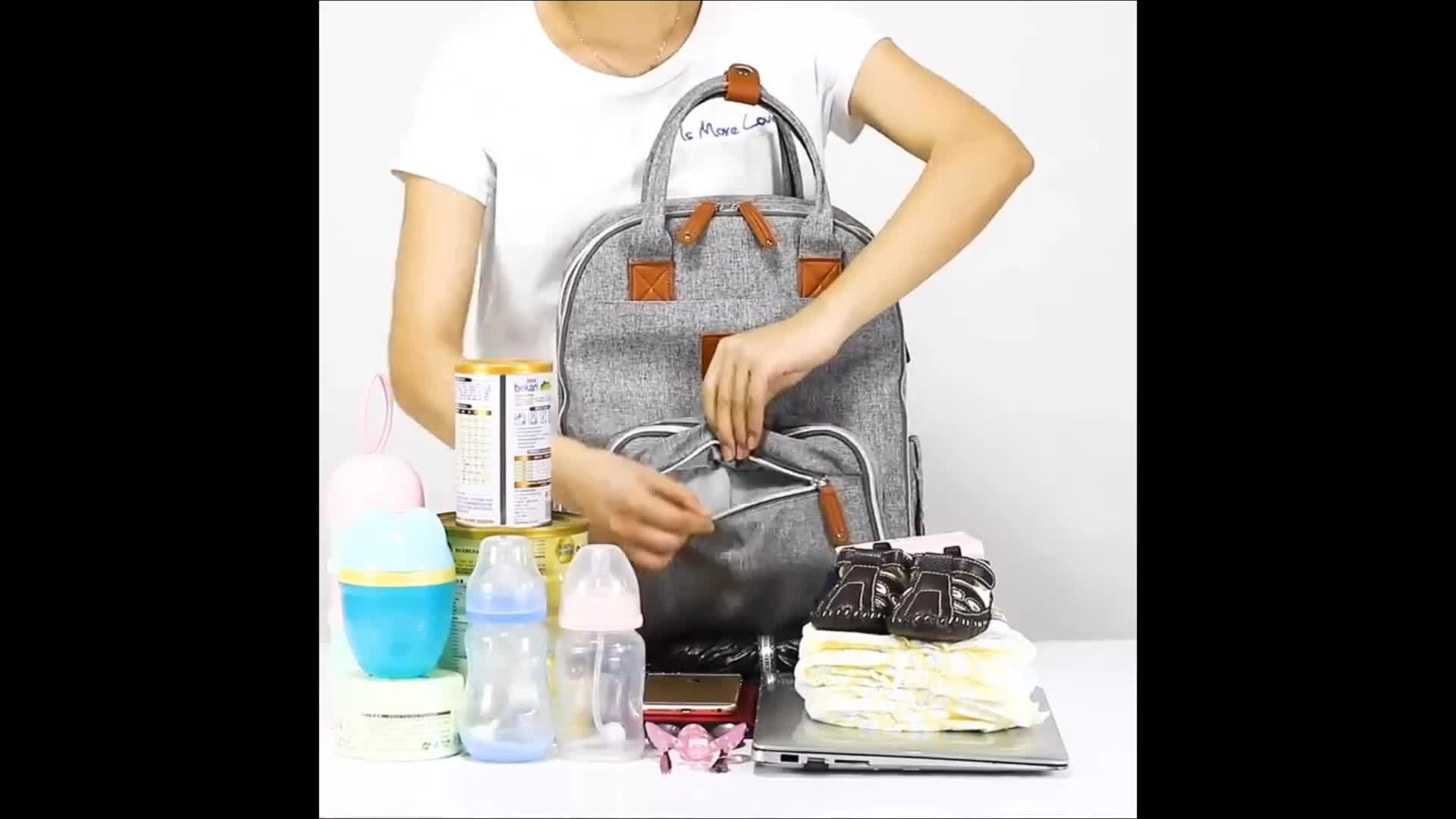 JUNYUAN Leather Insulated Mummy Daddy Baby Diaper Bag Backpack With Stroller Strap