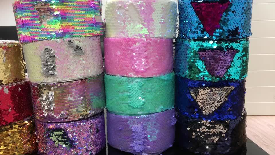 高品質装飾テープ 3 インチ reversibla スパンコールリボン