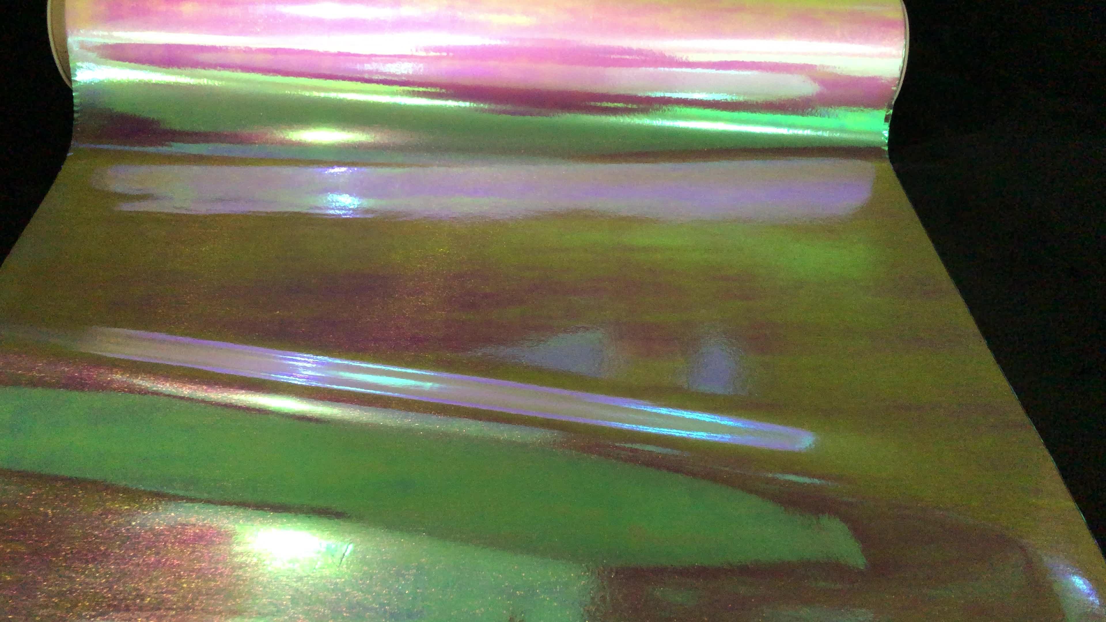 China fabrik Regenbogen holographische film PP film Reflektierende film für Luxuriöse verpackung und Laminieren Druck