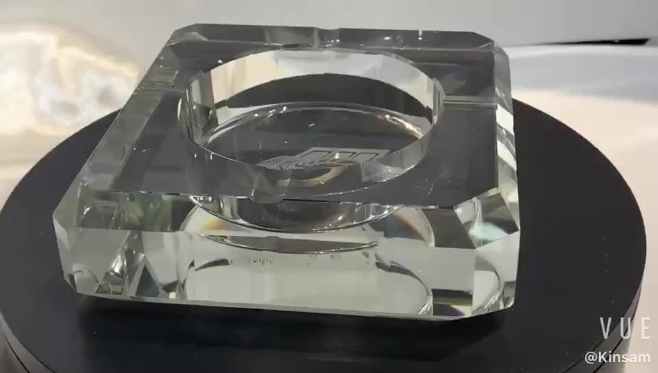 High quality transparent large printed with custom logo glass ashtray