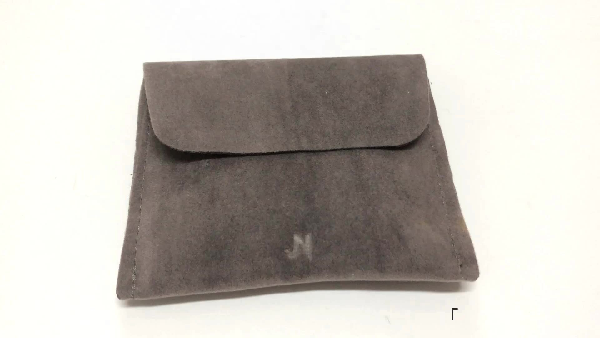 New Arrival Wholesale Velvet Envelope Jewelry Pouch with Printed Logo for Necklace