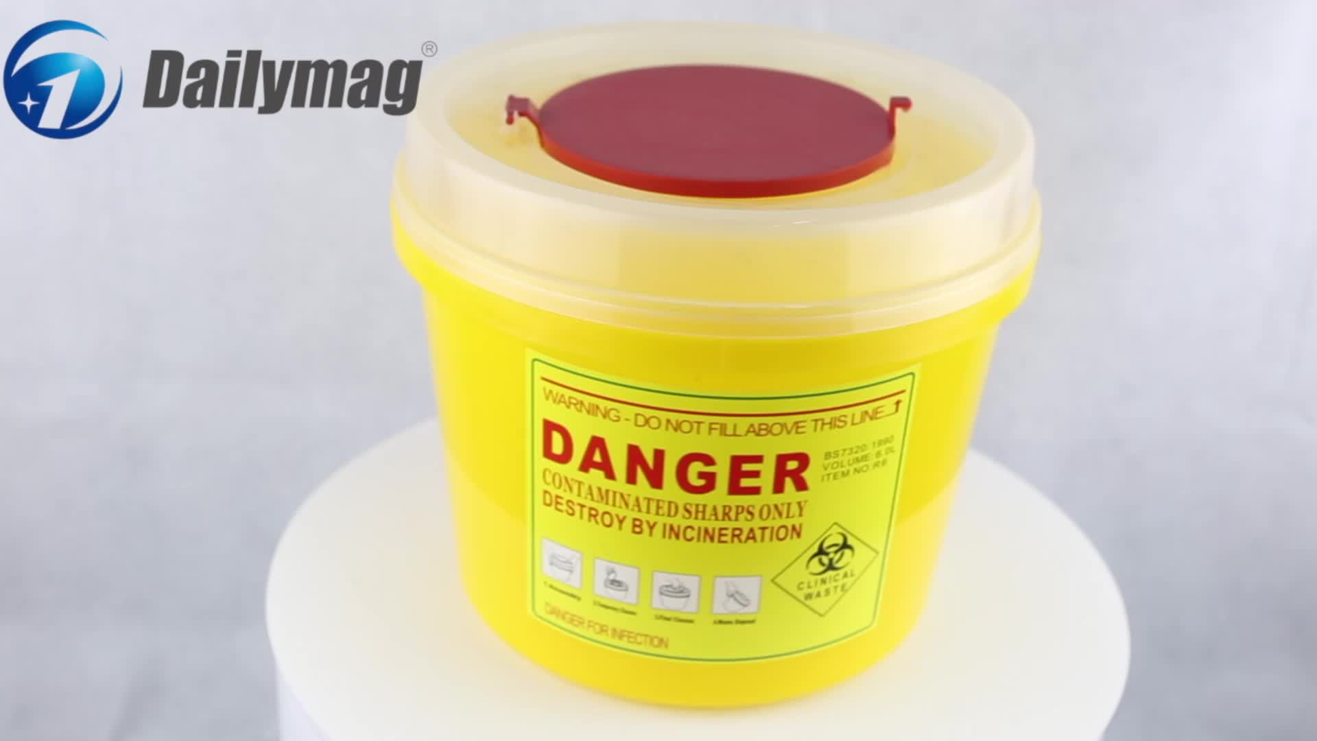 High quality un3291 safety sharps disposal container square 250m.L small plastic
