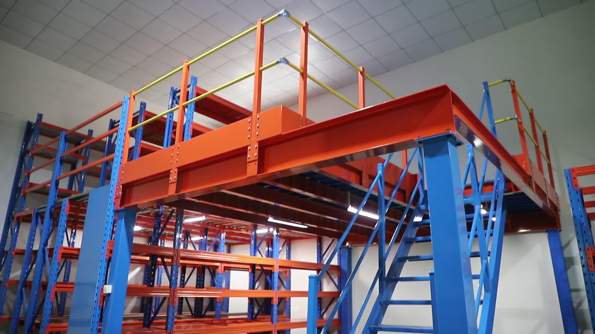 LIJIN Manufacture  industrial warehouse heavy duty storage steel scaffolding mezzanine floor rack