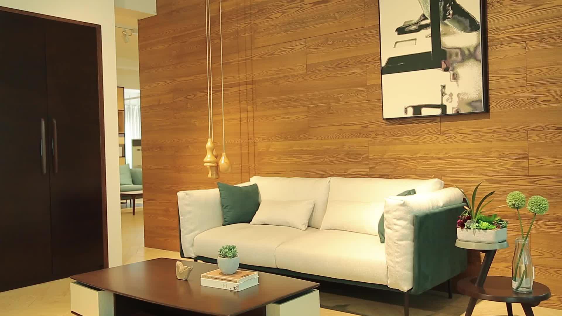 Barato moderno nórdica sofá muebles de sala de marco de madera maciza de 3 plazas sofá de tela con pluma
