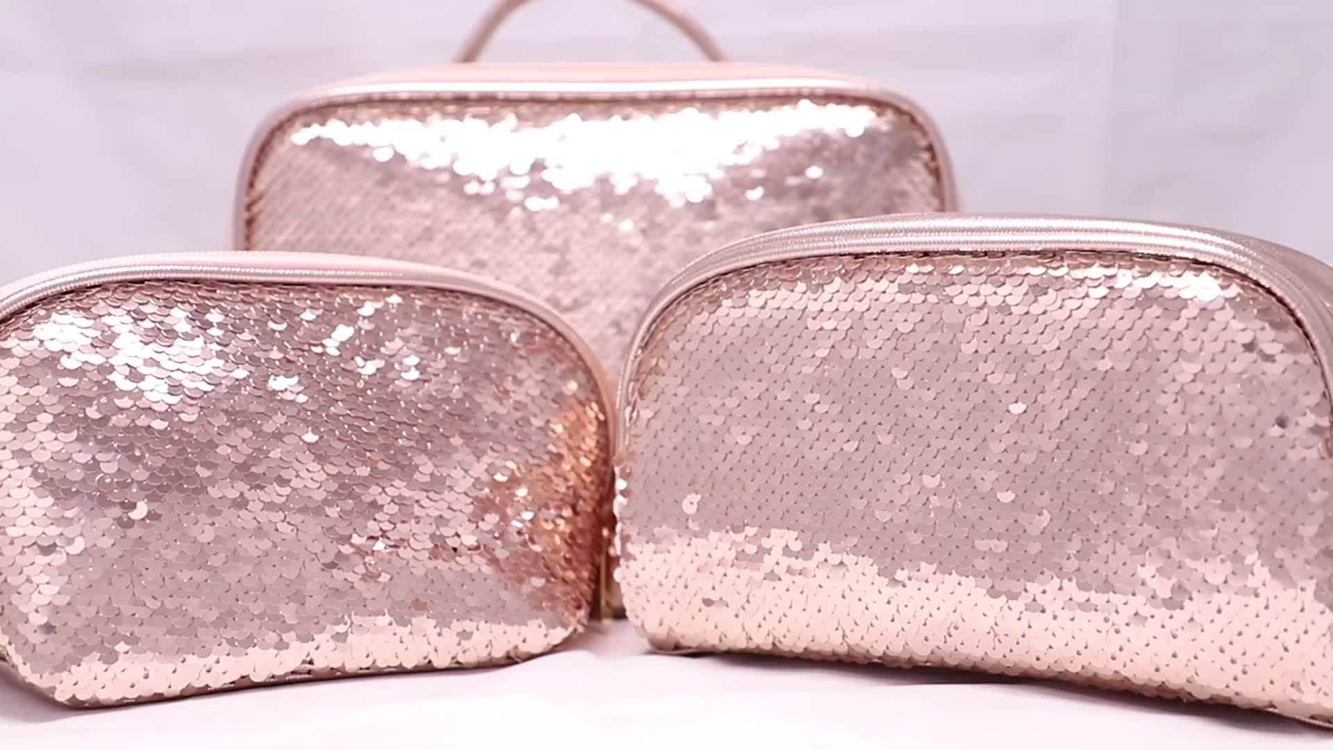 Customized logo ladies travel make up brush cute small magic reversible glitter sequin makeup pouch with mirror