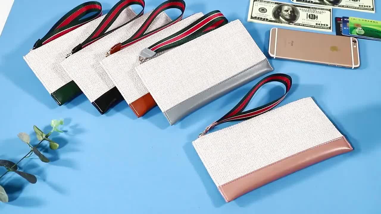 Simple Minimalist Women Belt PU Cotton Linen Long Zipper Wallet