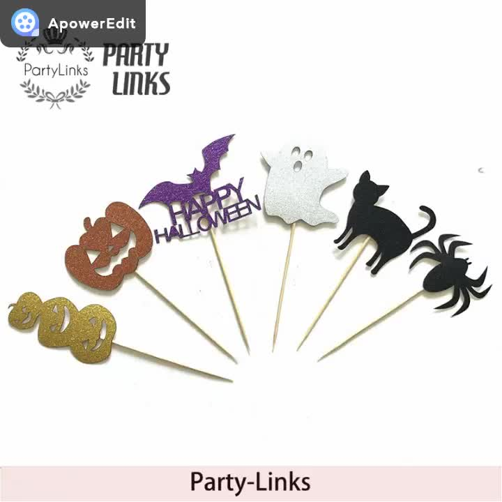 Happy Halloween 6 Piece Ghost Witch Halloween Party Cupcakes Small Card
