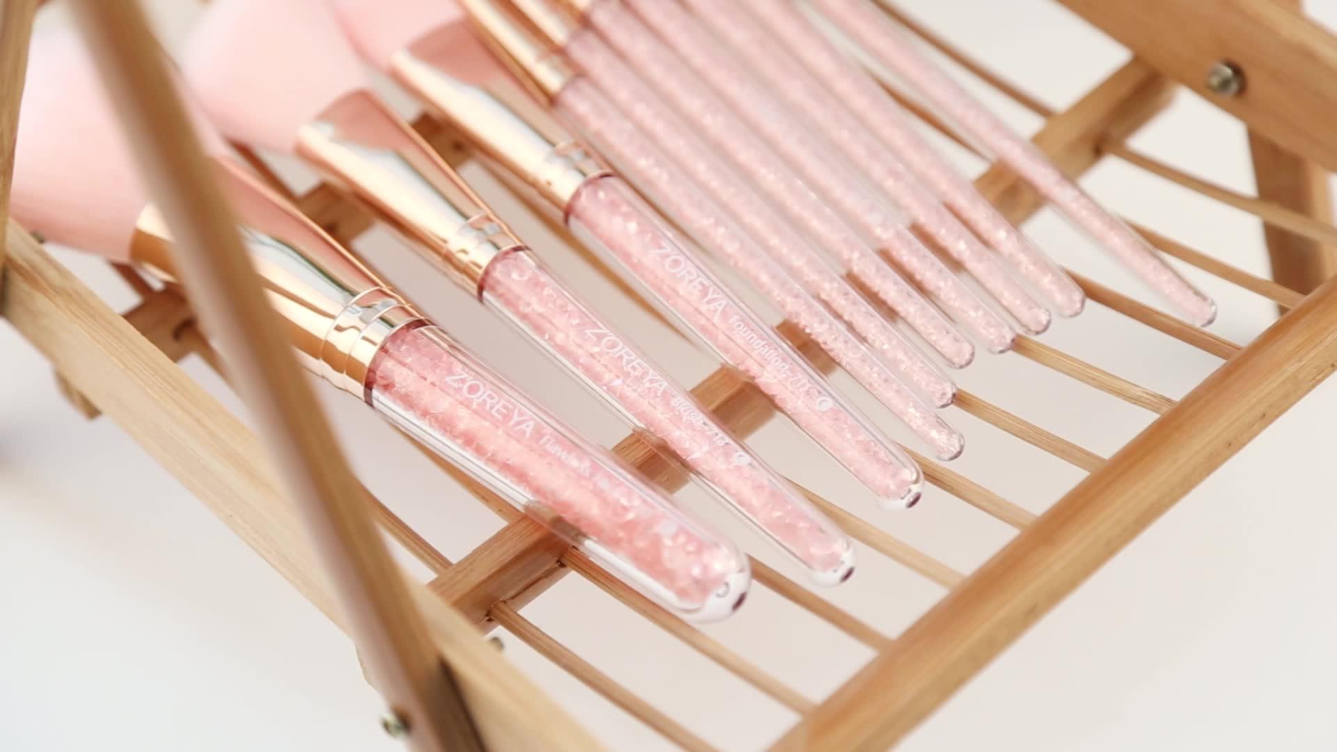 Gül altın Glitter kolu 10 adet kristal elmas fondöten fırça seti PU çanta makyaj fırçaları