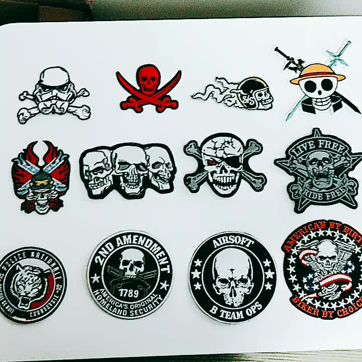 Custom skull and usa flag patch 3D woven fabric iron on embroidered us navy patches