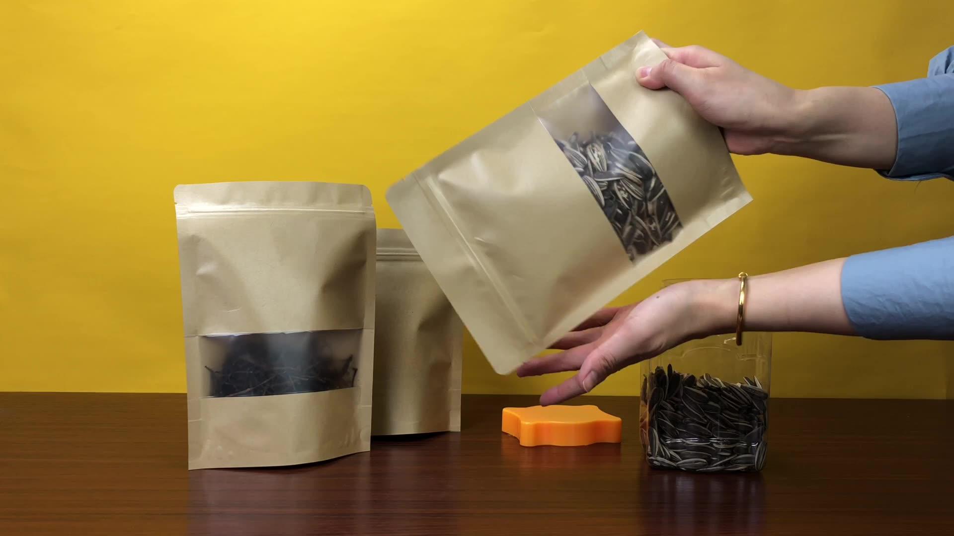 작은 MOQ 로고 유기 차 식품 포장 크래프트 종이 놀라 포장 가방 Reclosable 지 플락