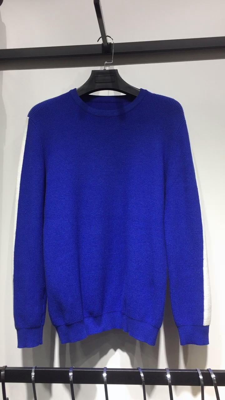 Custom make high quality elasticity knit sweater royal blue knitted contrasting crewneck sport sweater for men