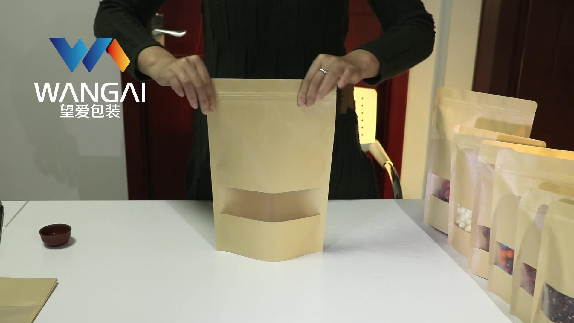 Qual Sigillo Fondo Piatto A Chiusura Lampo Sacchetto di Carta Kraft con Finestra Trasparente e Chiusura Lampo