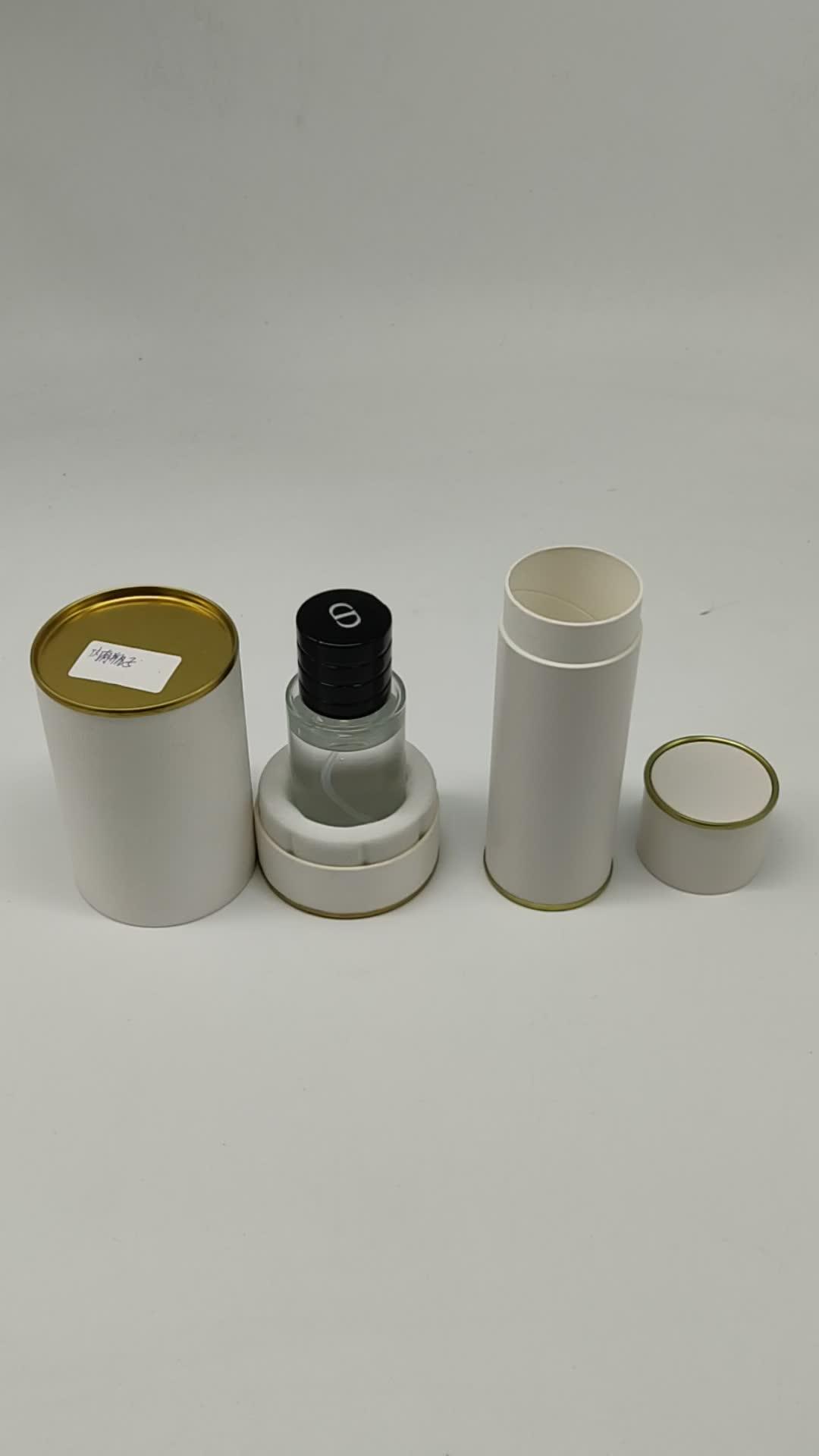 Superficie nera Soft Touch Cilindro Imballaggio del Profumo Rotondo Kraft Scatola di Carta Con Coperchio In Metallo
