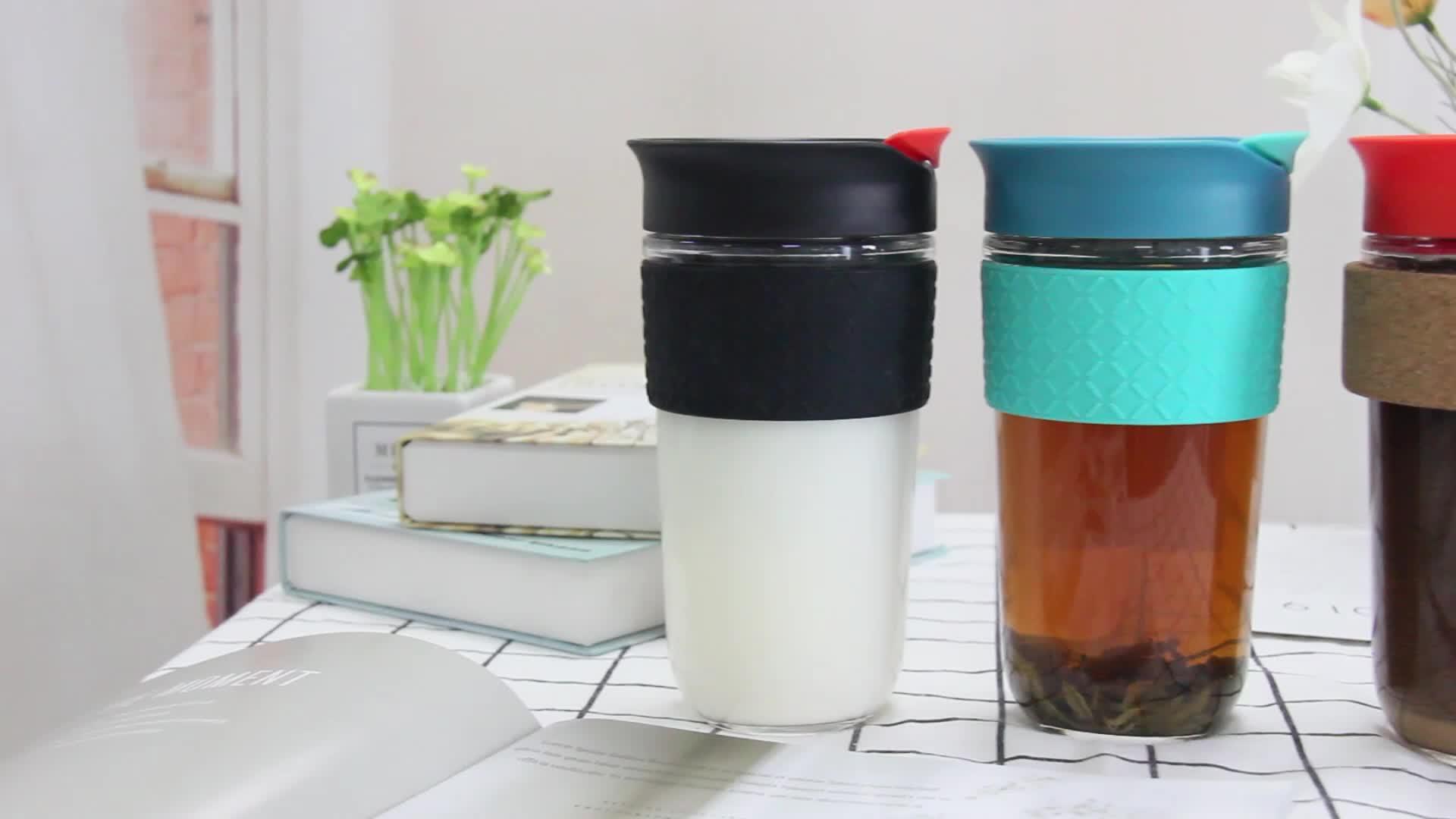 नई आगमन सोडा लीमा ग्लास चाय कप चाय झरनी के साथ 18oz और सिलिकॉन आस्तीन, स्पष्ट गिलास चाय तर करने वाला कप