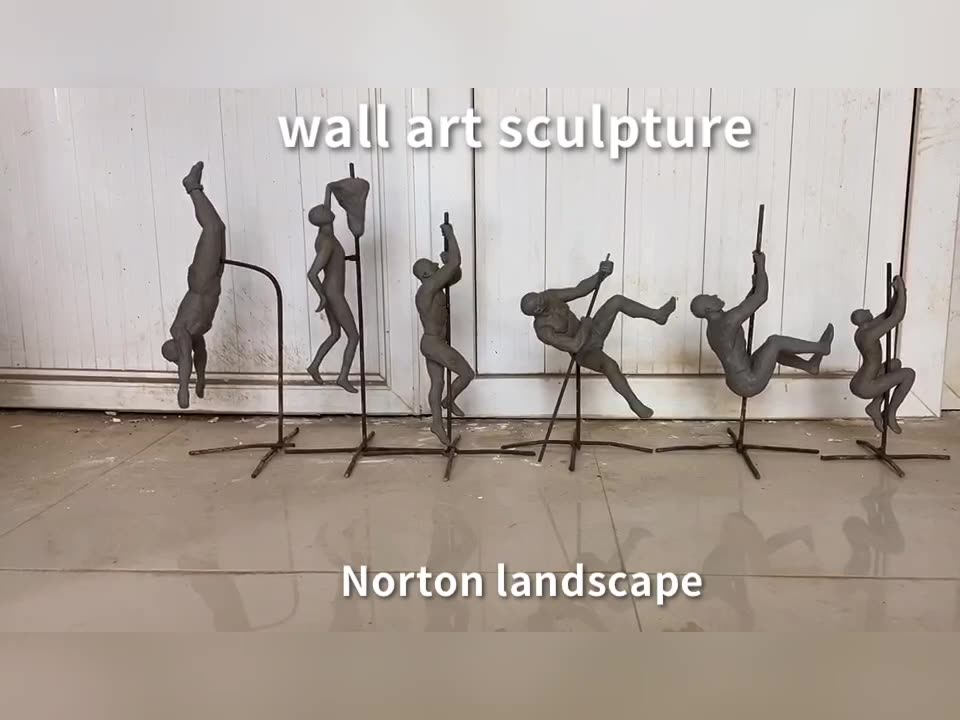 Home decor wall metal sculpture art shown 3D bronze brass climbing man statue wall sculpture