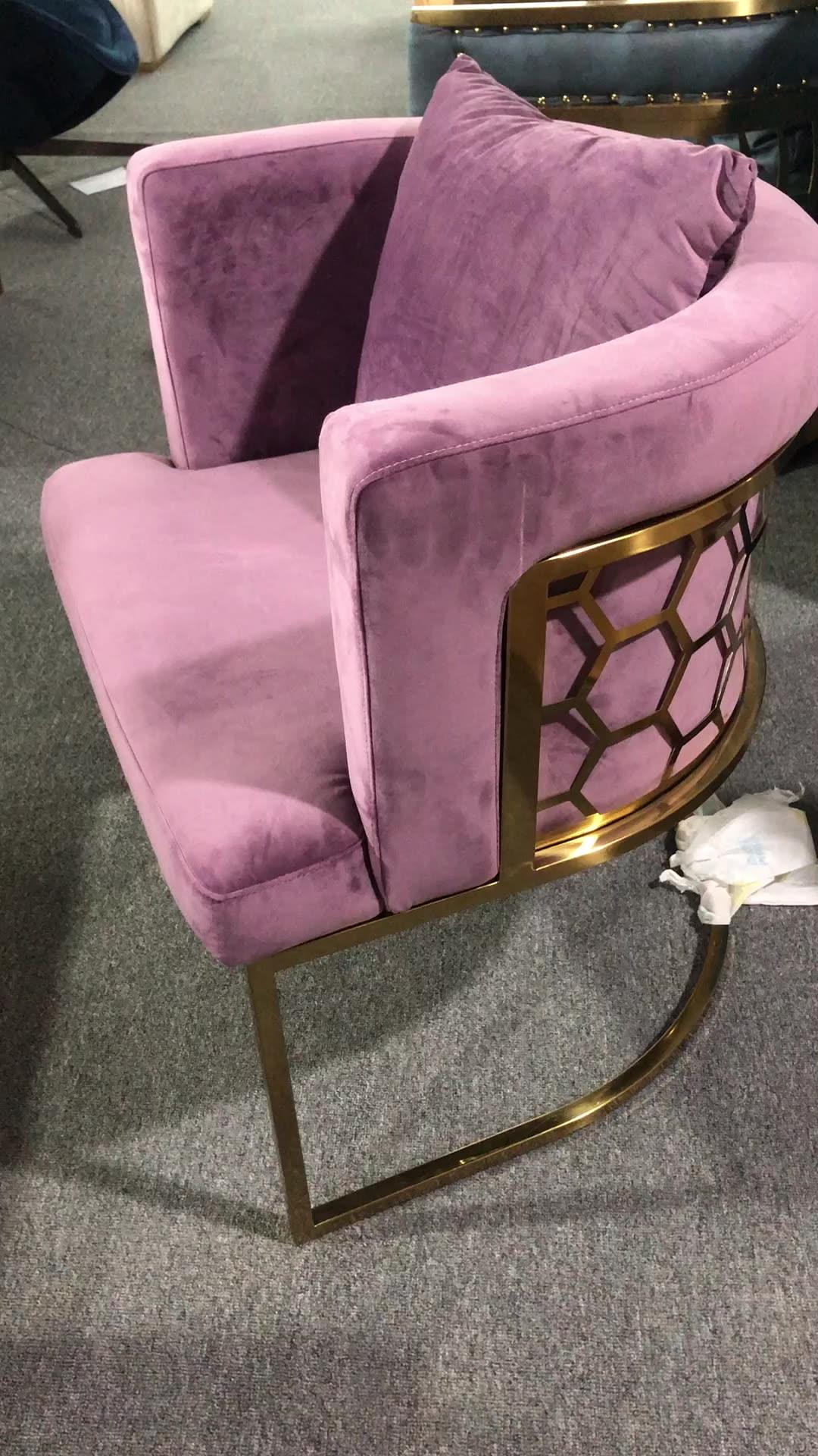 Europäischen französisch dänischen elegante komfortable edelstahl beine einzel einzigartige lila samt sessel lounge badewanne sofa warten stuhl