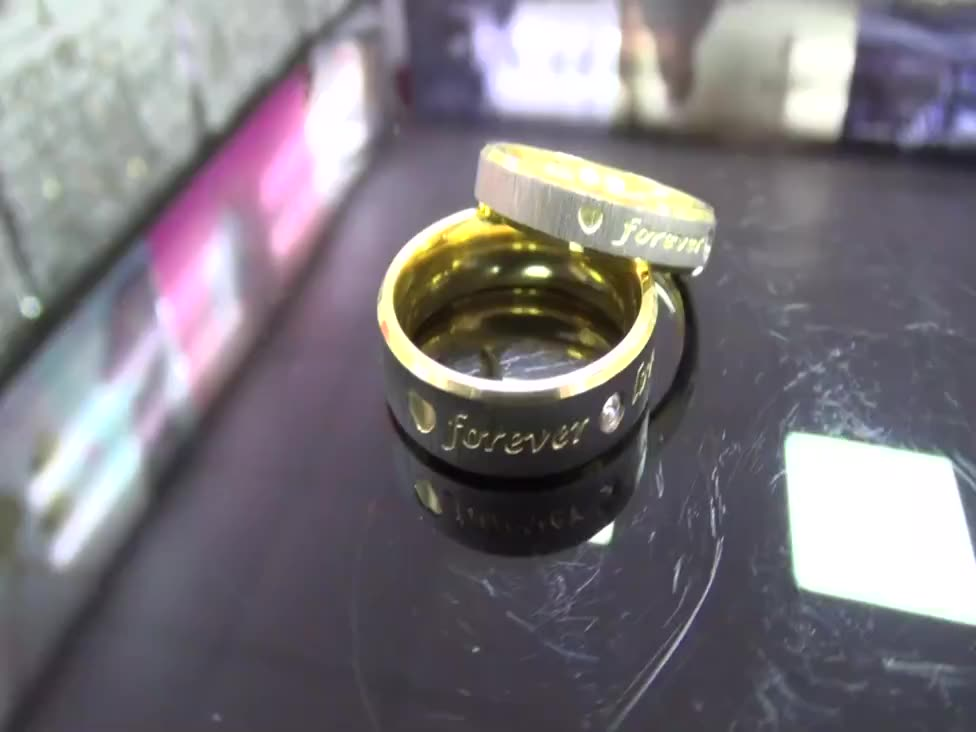 Hot sale couple jewelry titanium ring 18k gold frosted forever love couple ring