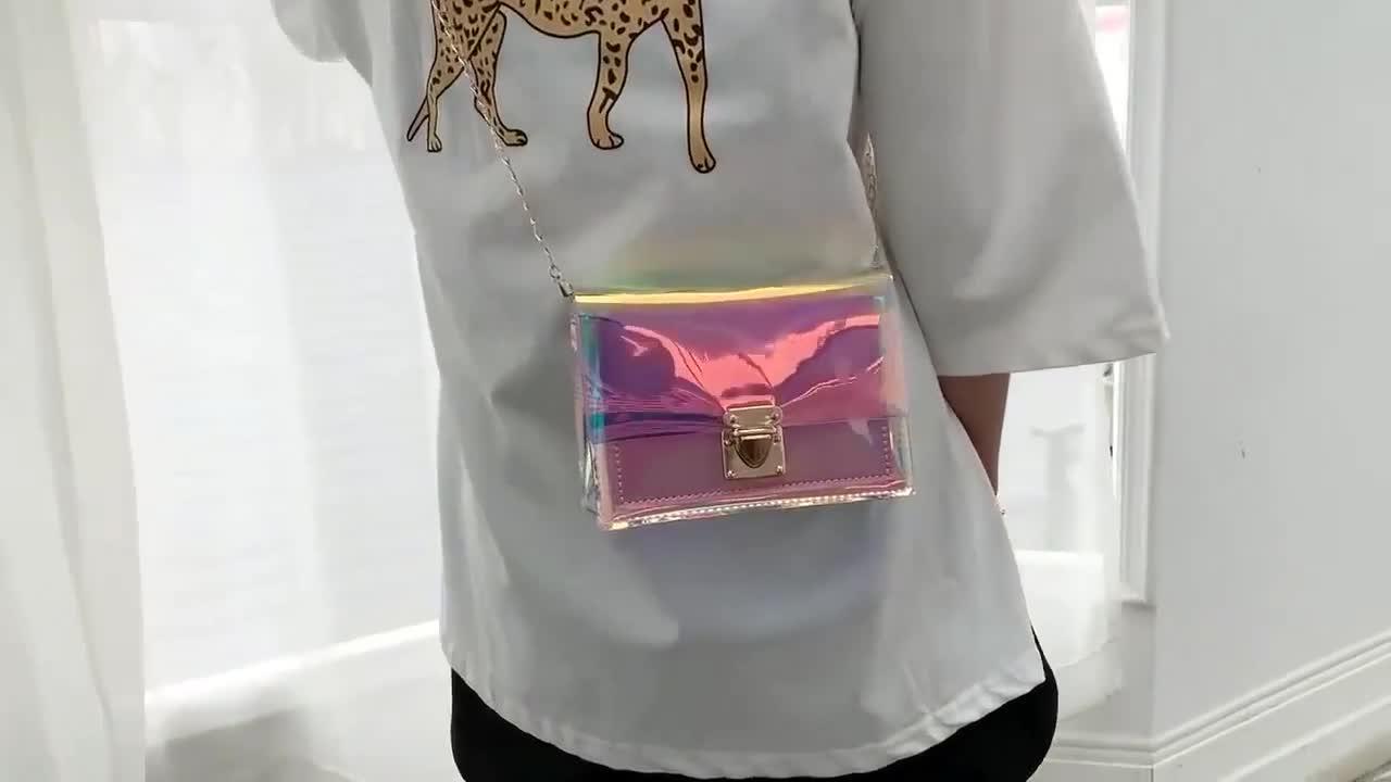 New fashion ladies pvc handbag jelly shoulder bag cheap clear designer purses handbags for women
