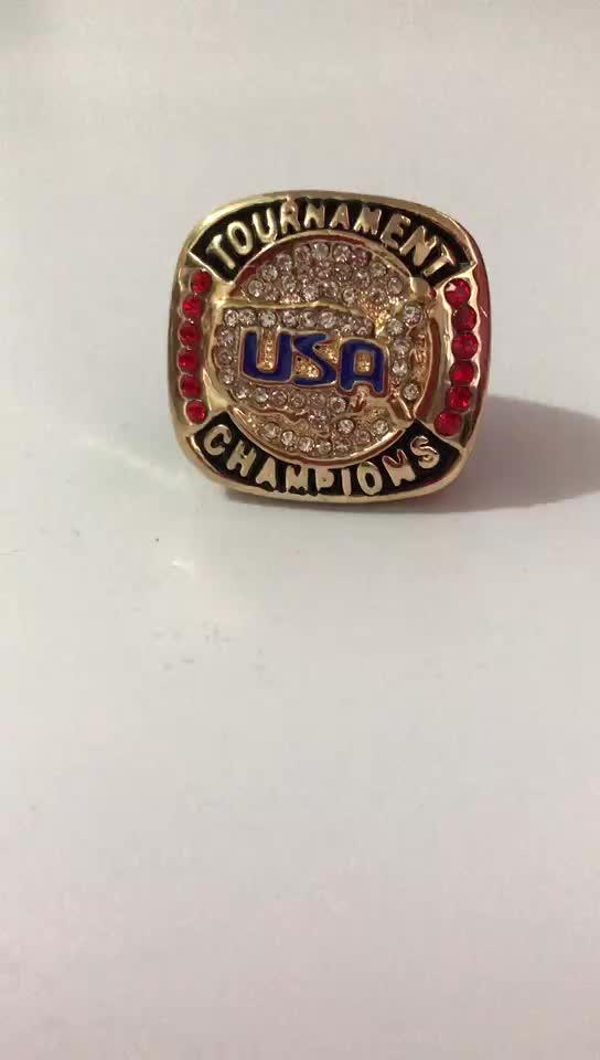 저렴한 가격 솔리드 크고 무거운 골드 실버 미국 토너먼트 최종 미국 챔피언 반지 1 PC