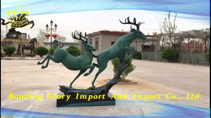 Custom Design Metal Craft Gift Products Brass Running Deer Statue