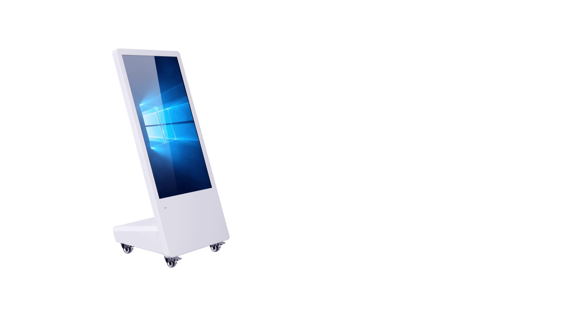 Movable LCD advertising players digital signage and displays touch screen totem with universal wheels
