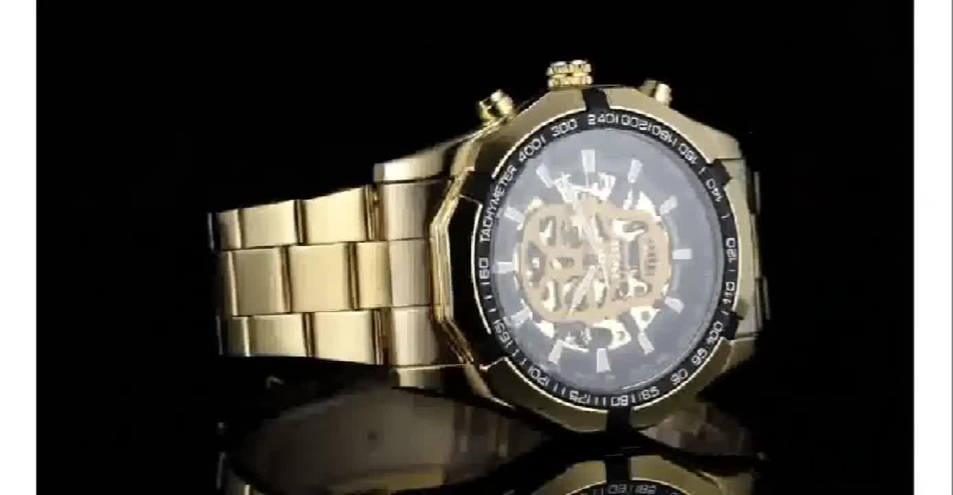 ผู้ชนะ 274 แบรนด์หรูผู้ชายนาฬิกาสแตนเลสสตีลโครงกระดูก Dial Luminous Skull นาฬิกาข้อมือนาฬิกา