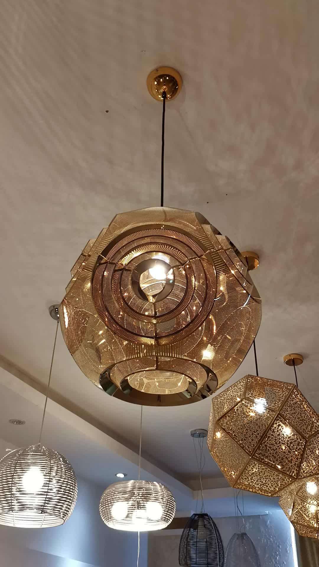 Zhongshan Lighting Manufacturer Indoor Lamp Metal Gold Finished Fancy Pendant Lighting