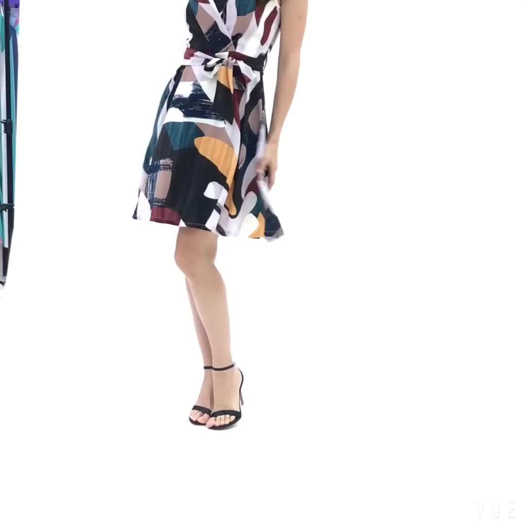 2019 Fashion Formal Cetak Topi Lengan Perapi Pendek Kantor Kasual Musim Panas Wanita Gaun