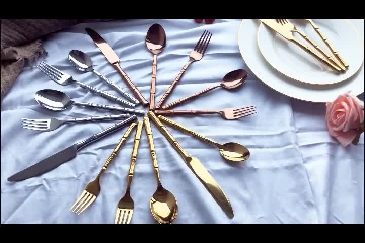 Wholesale 1810 luxury 20 pcs stainless steel coppery dinnerware cutlery set for wedding including knife fork and spoon