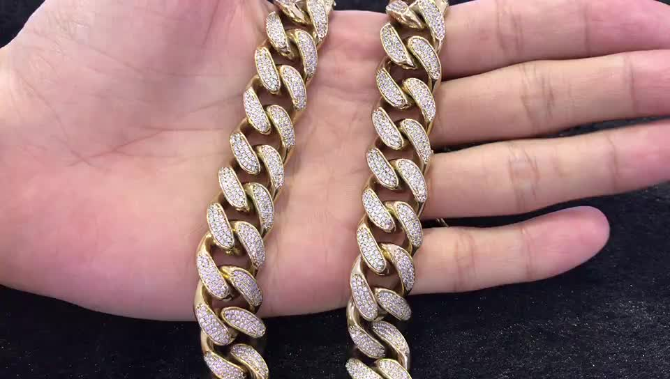 Missjewelry Wholesale Heavy Hip Hop CZ Micro Paved Diamond Iced Out Cuban Link Chain