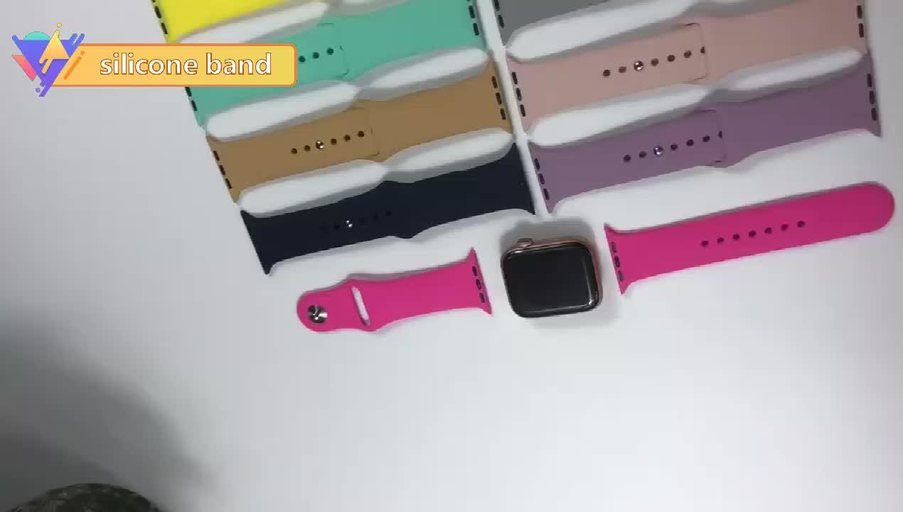 Силиконовый ремешок для наручных часов Apple Watch, 42 мм, 38 мм, Версия 44 мм 40 мм Резиновый Браслет ремешок для часов Iwatch серии 5/4/3/2/1 браслет