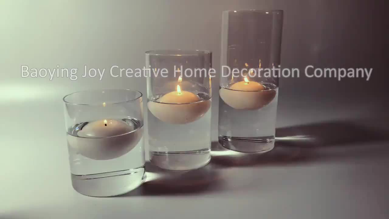 2020 new arrival glass cylinder candle vase with floating candle for luxury wedding