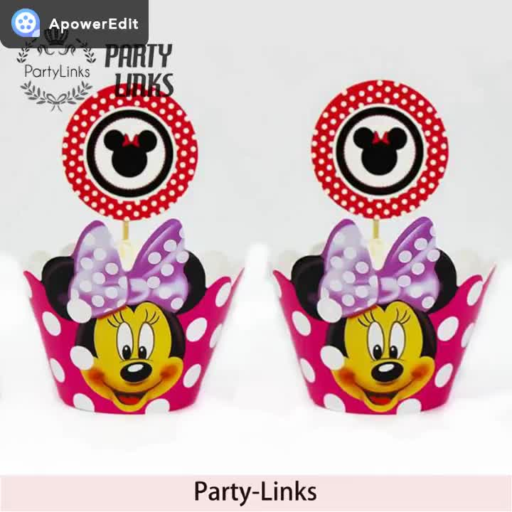 Cartoon Mickey Minnie Mouse Cake / Cupcake Wrappers Toppers pick Kids Birthday