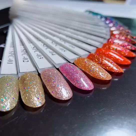 Bulk And Private Label Hot Selling Glitter Sparkle Gel Polish Super Concentrated Easy Soak Off UV Nail Gel Polish