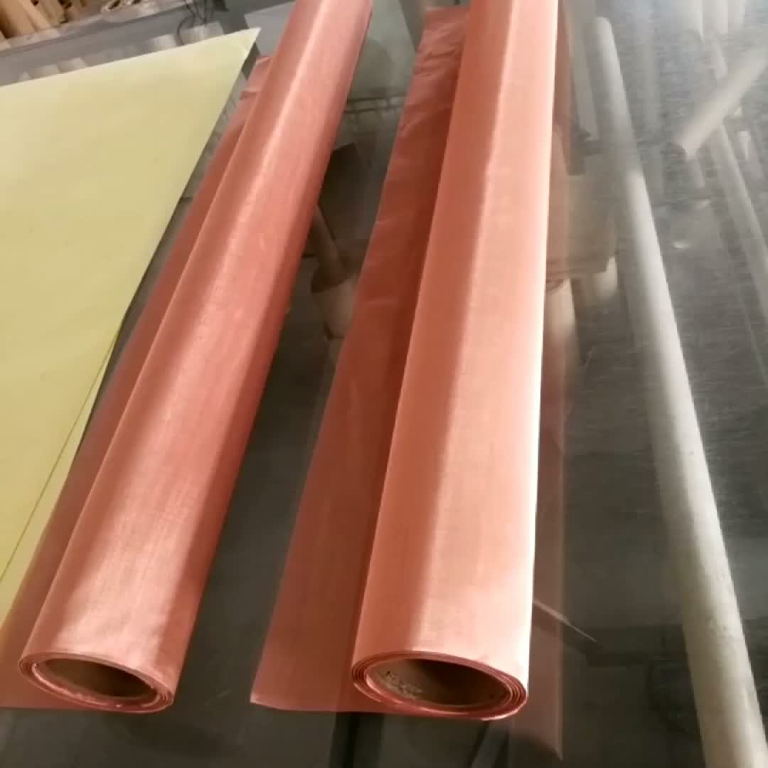 Korea market hot selling 200 250 mesh 100mesh red fine copper wire mesh filter screen1m wide 1.2wide EMF shielding faraday cage