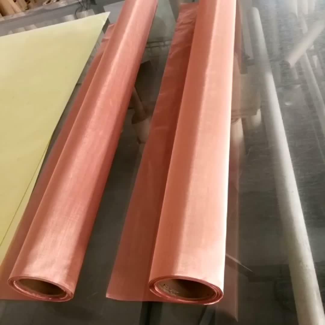 Korea ultra fine 80 200 250 325 Mesh 0.05mm 77 micron Red Copper Wire Mesh cloth Faraday Cage EMI EMF RFID Shielding fabric