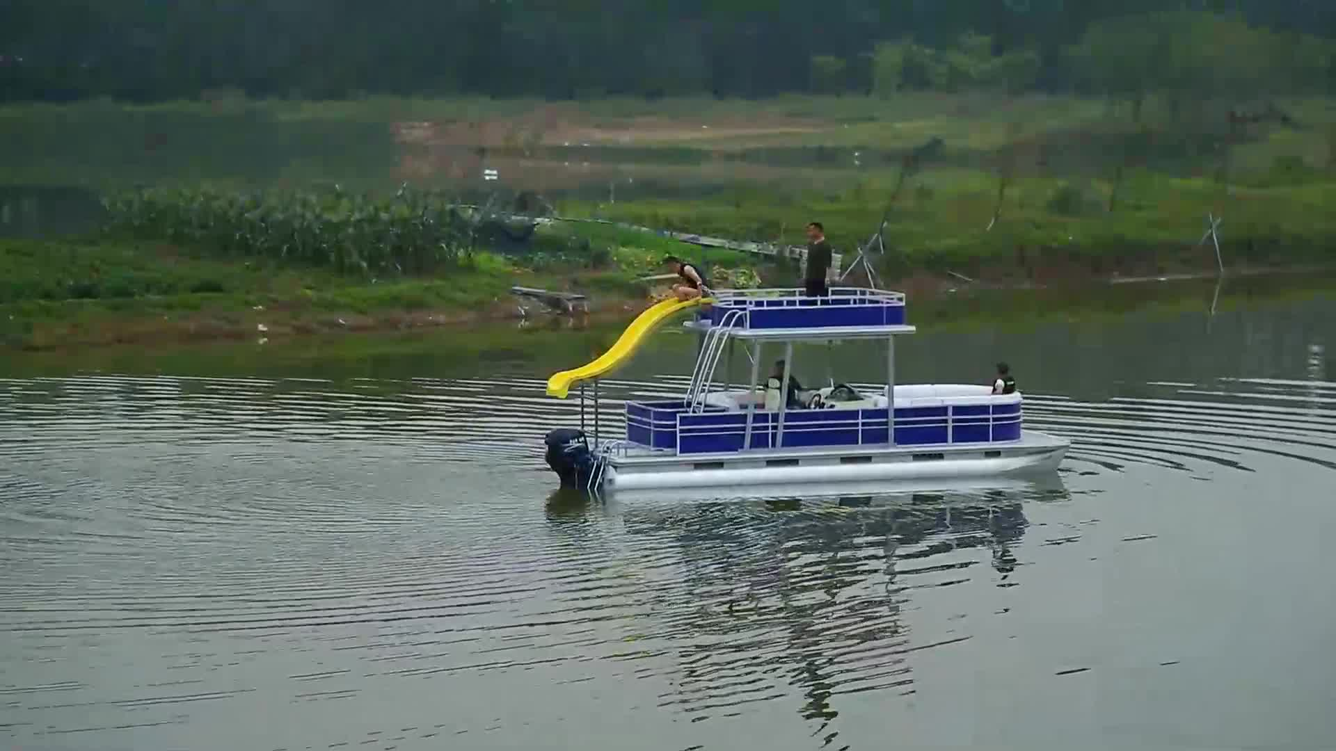 Best Quality Luxury Leisure Sightseeing Party Barge Tritoon Pontoon Boats For Sale View Party Barge Pontoon Boats For Sale Ecocampor