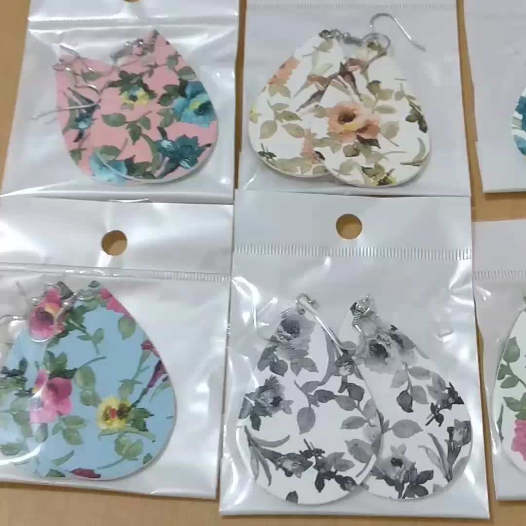 New Design Light Weight Leather Earrings Drop Shaped Sweet Floral Print Composite PU Leather Flower Double Sided Earrings