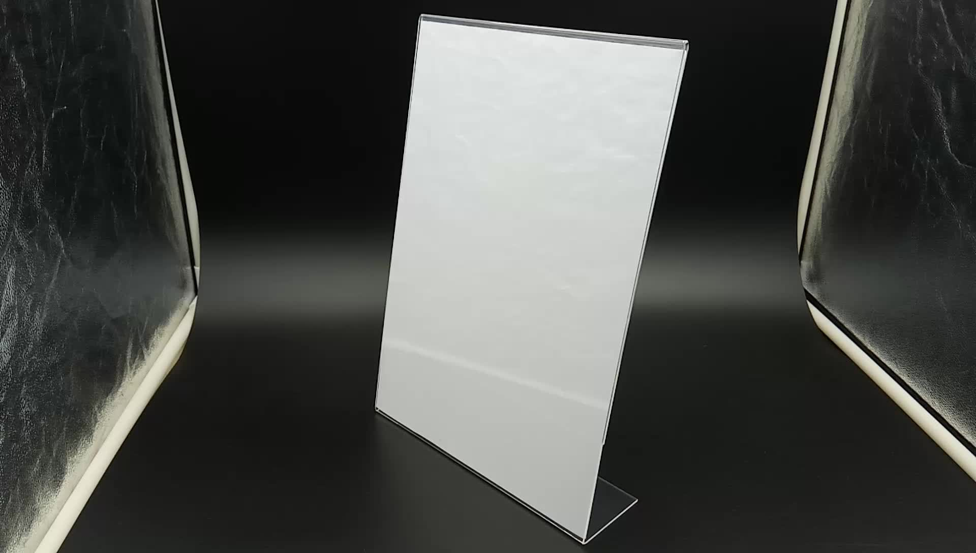 Slant L shape acrylic plexiglass sign holder for A4 size paper