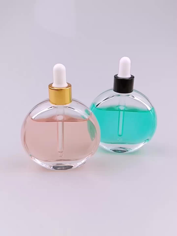 Clara forma redonda botella de perfume de cristal 50ml con cuentagotas de vidrio para el cabello aceite