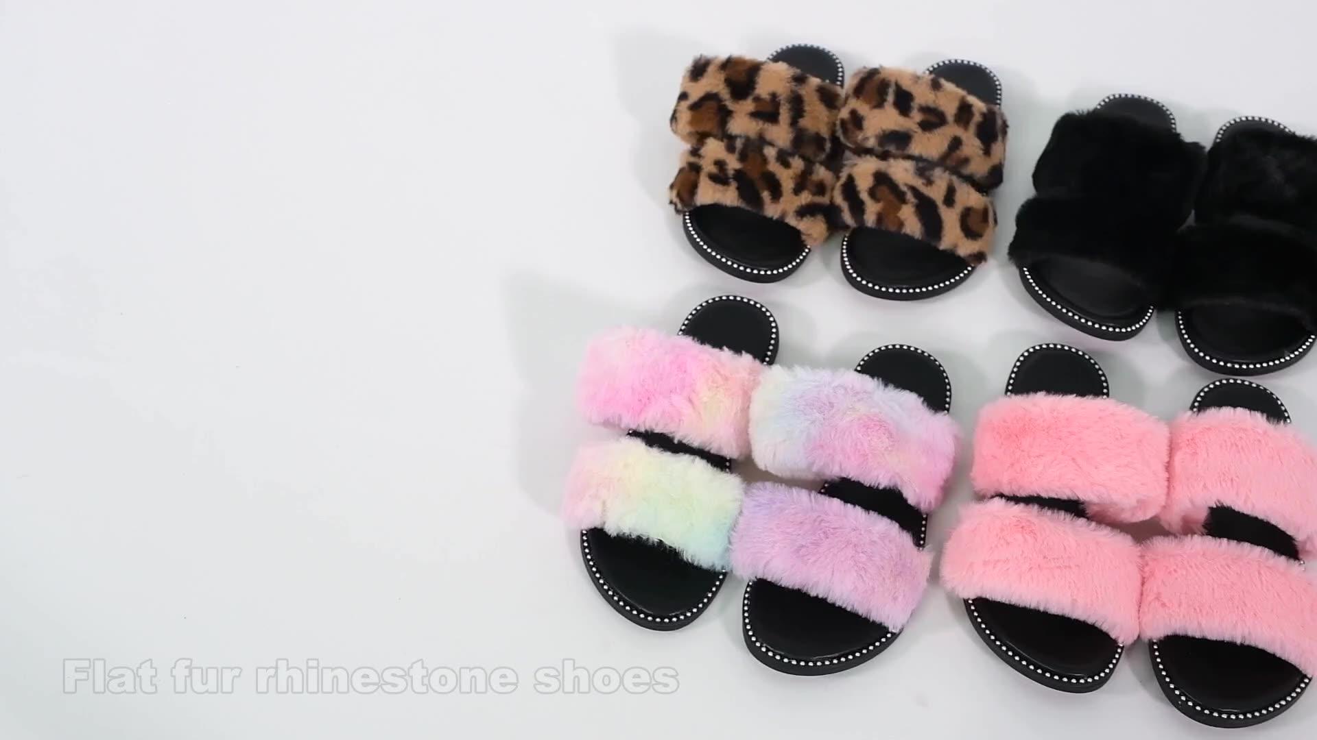 Toptan moda bayan terlik ayakkabı taklit kürk slaytlar terlik kadınlar için