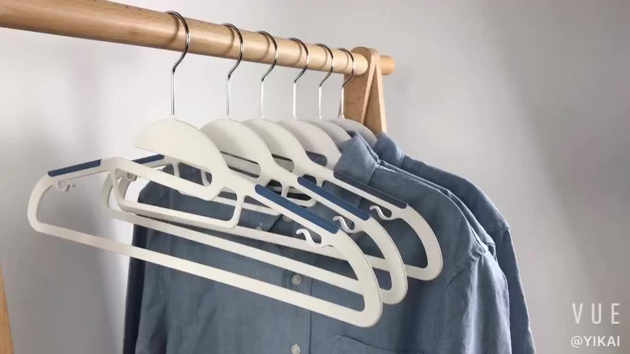 פלסטיק קולבי שטח חיסכון בגדי קולבי Ultra דק עם גומי החלקה ציפוי, צעיף ועניבה בר