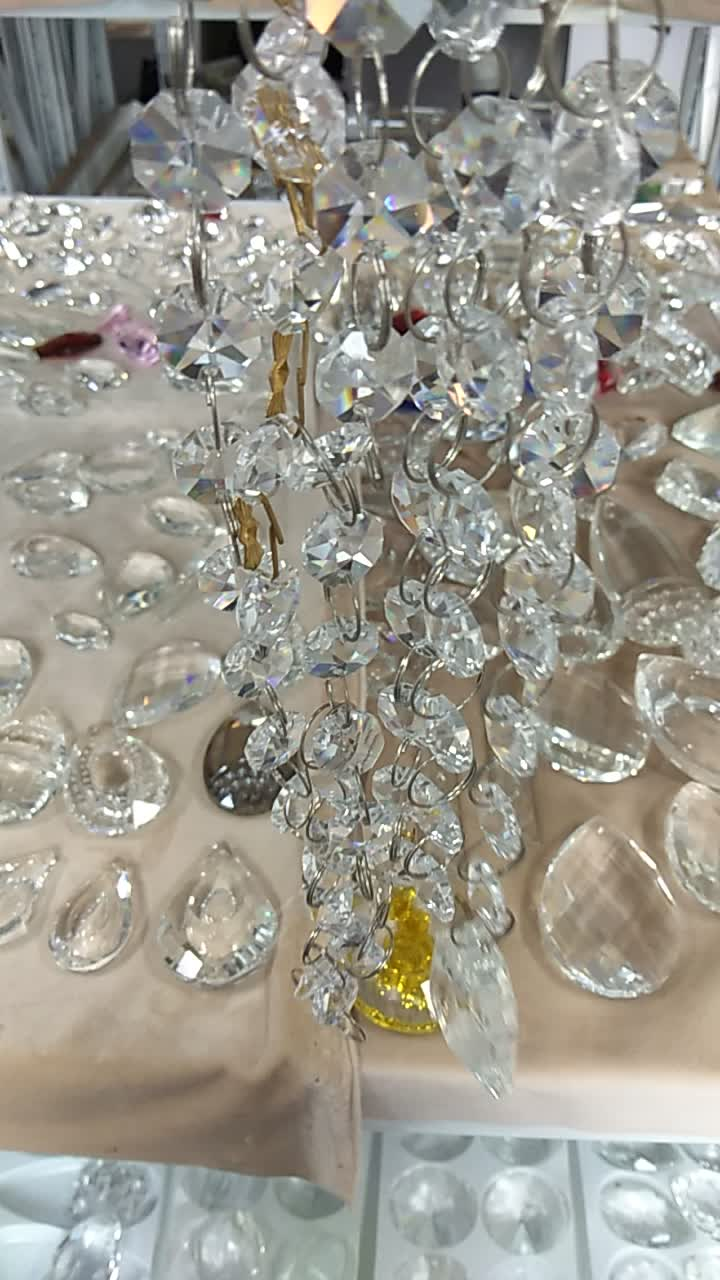High quality crystal octagon for chandelier parts with two holes modern art home decoration