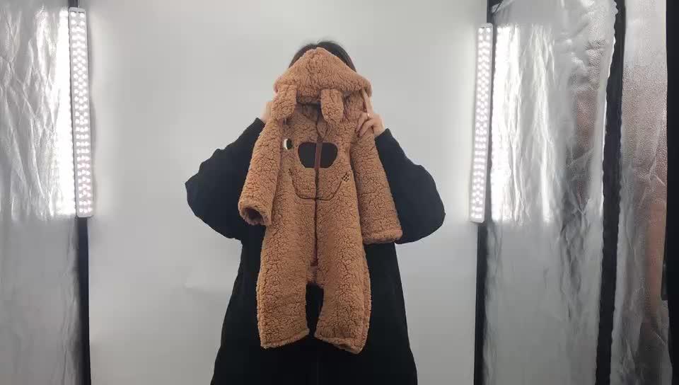 Western Thickened Jumpsuit Bear Hat Berber Fleece Baby Rompers