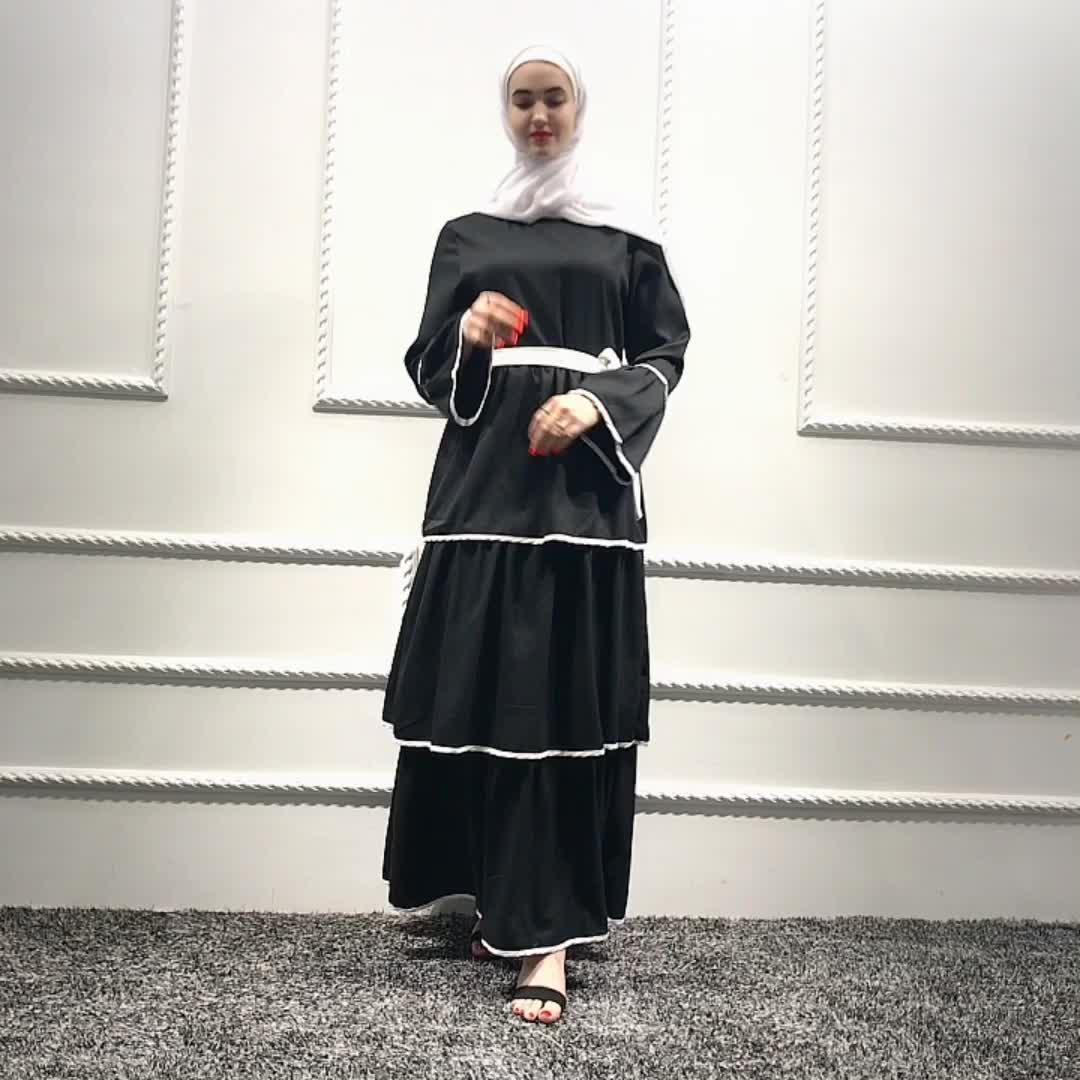 New arrival  3 layers long abaya dress pettiskirts muslim women bubble skirts