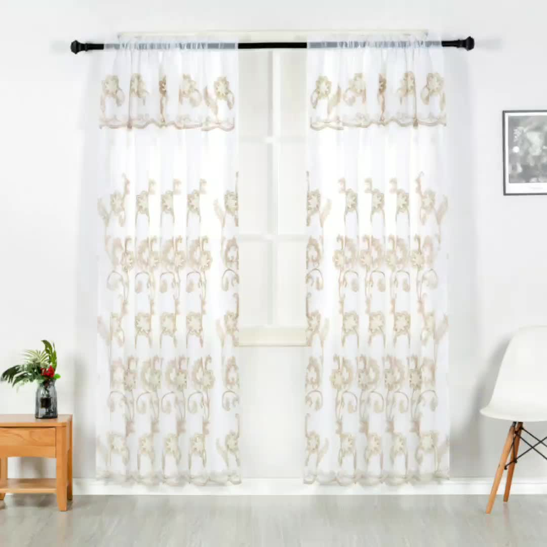 Luxury Home Embroidery Drapery curtains window valances Germany Sheer Curtains for bedroom